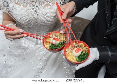 Wedding marriage ceremony misua noodle with egg shuang xi double happiness