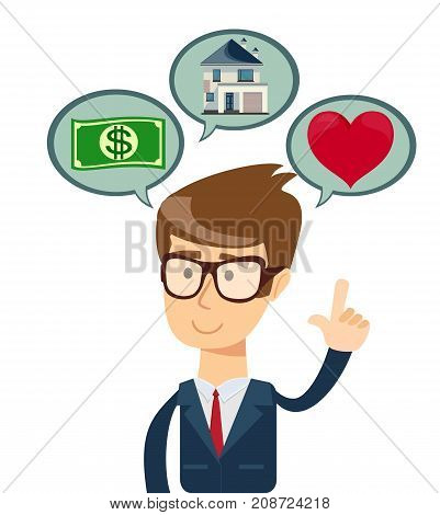 Successful business man dreaming about house, shopping, love. Saving and investing money. Future financial planning concept