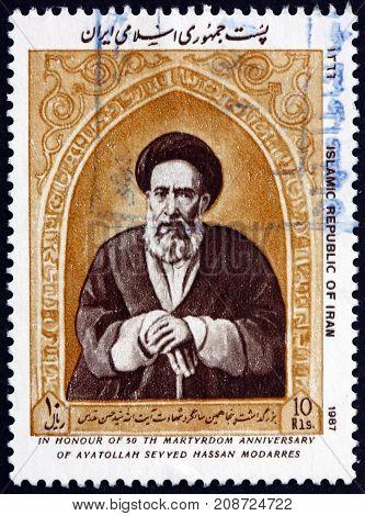 IRAN - CIRCA 1987: a stamp printed in the Iran shows Ayatollah Modarres Martyrdom 50th Anniversary circa 1987