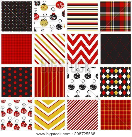 16 Seamless Holiday Patterns in Red, Black & Gold