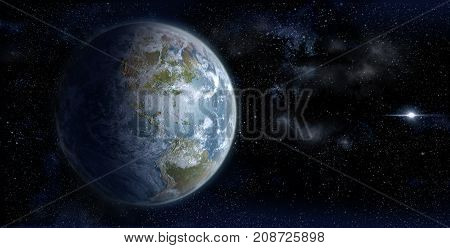3D Rendering of Earth from space on a star field backdrop with the North American continent in daylight, for science, business and space-related backgrounds.