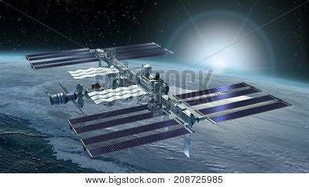 3D Rendering of the International Space Station flying above Earth, from its zenith solar panels and the detailed modular architecture.