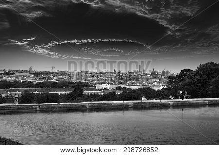 Skyline of Vienna Austria dramatic cloud formation