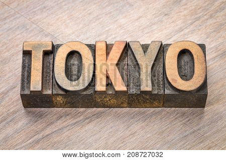 Tokyo word abstract in vintage letterpress wood type