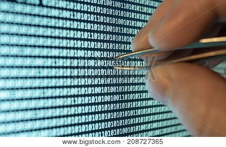 Binary code tweezers taking out Russia word