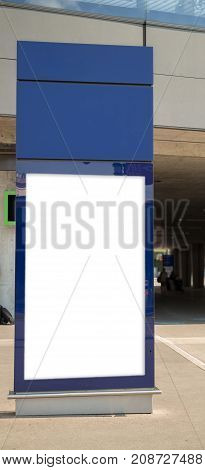 Train station Billboard Blank White Blue Isolated Clipping Path Outdoors Ad Space Advertisement