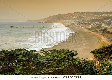 Pacifica Coastline with Smoky Skies after Napa fire. Mori Point, Pacifica, San Mateo Coast, California, USA.