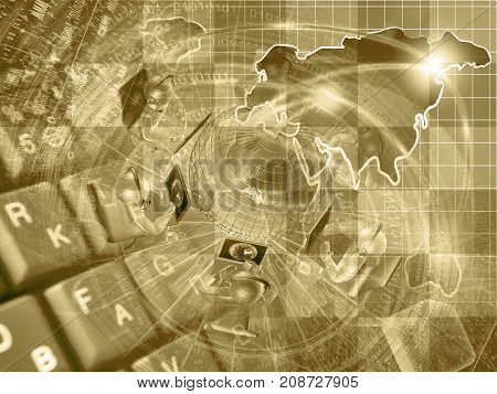 Mans and map - abstract computer background in sepia.