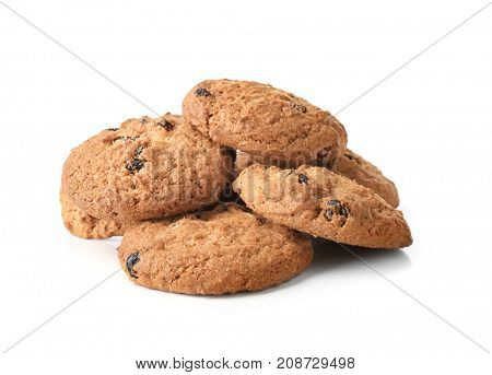 Delicious oatmeal cookies with raisins on white background