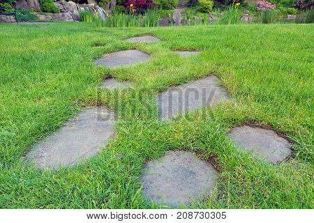 Stepping stones in grass lawn leading to waterfall pond in backyard garden