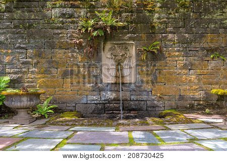 Renaissance Garden with Lion Head water fountain on a stone block wall with stone steps and planter