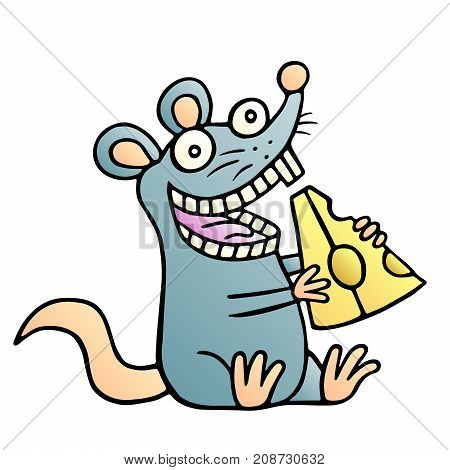 Cute mouse found a piece of cheese. Vector illustration.