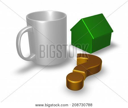 mug question mark and house model - 3d rendering