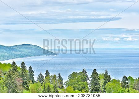 Landscape Aerial View Of Mountain Cliff Coast And Saint Lawrence River In Summer In La Malbaie, Queb