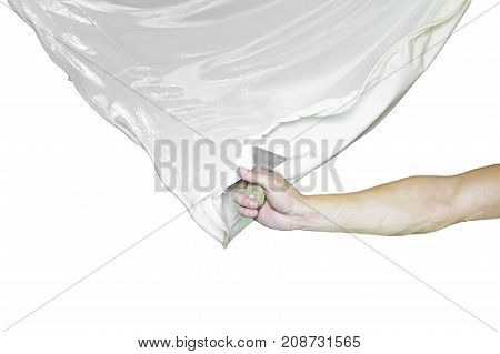Workers stretch the stretch ceiling in the room white background