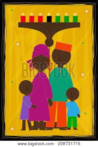 Decorative Kwanzaa greeting card with African American family and kinara. Eps10