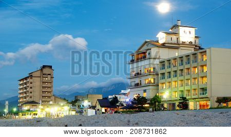 hotels on the seafront view of the mountain of daisen Kaike onsen Yonago 3Japan 9.07.2017