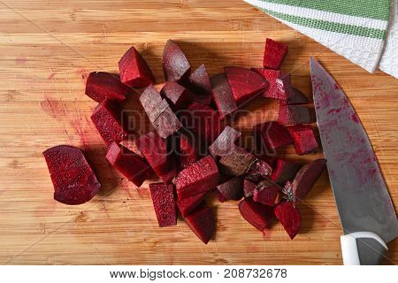 Overhead View Of Diced Beets