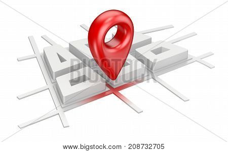 Red Map Pointer On City Plane Navigation Concept 3D