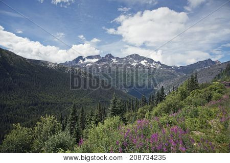 Scenic landscape along Skagway, Alaska - White Pass and Yukon Route