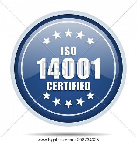 Iso 14001 blue round web icon. Circle isolated internet button for webdesign and smartphone applications.