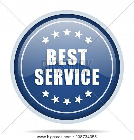Best service blue round web icon. Circle isolated internet button for webdesign and smartphone applications.