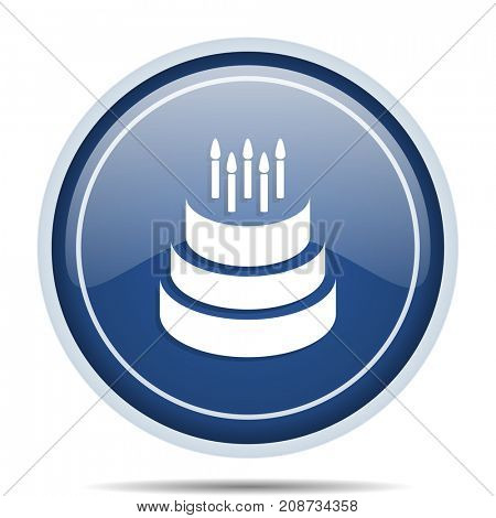 Cake blue round web icon. Circle isolated internet button for webdesign and smartphone applications.