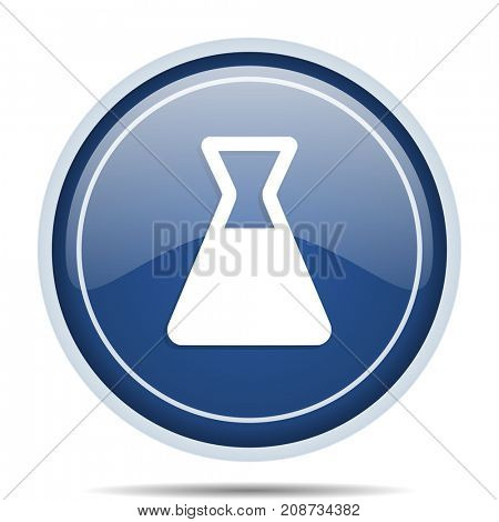 Laboratory blue round web icon. Circle isolated internet button for webdesign and smartphone applications.