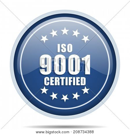 Iso 9001 blue round web icon. Circle isolated internet button for webdesign and smartphone applications.