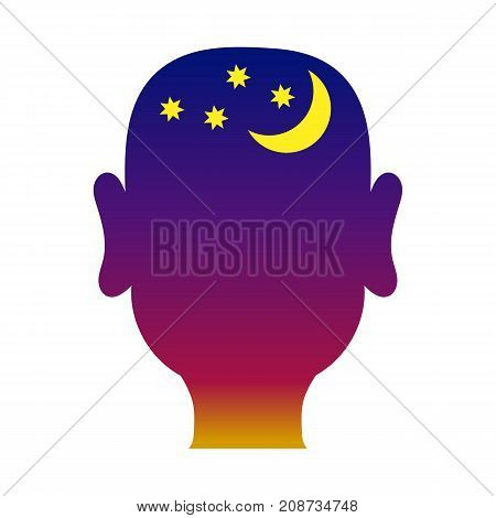 The contour of the male head with the stars and the moon filled night background