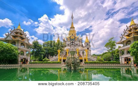 Ho Chi Minh city, Vietnam - October 8th, 2017: Buu Long Pagoda with nice architecture. This considered wonder of the world. A peacefull place to calm your mind and soul in Ho Chi Minh City, Vietnam