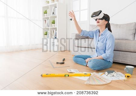Beautiful Pretty Housewife Wearing Vr Device