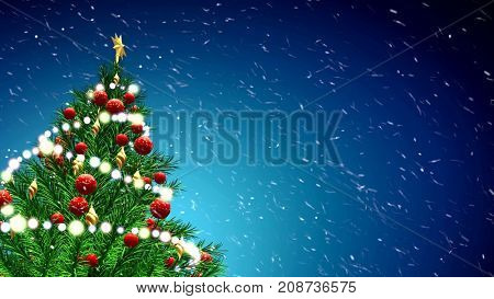 3d illustration of green Christmas tree over blue background with snowflakes and red balls. 4K