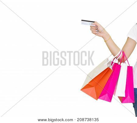 Female walks hands holding shopping bags and credit card white background Clipping path