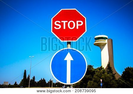 Traffic signs stop stop to make way