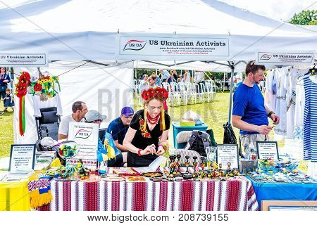 Silver Spring, Usa - September 16, 2017: Booth Of Ukrainian Activists Fundraiser, Raising Funds, Mon