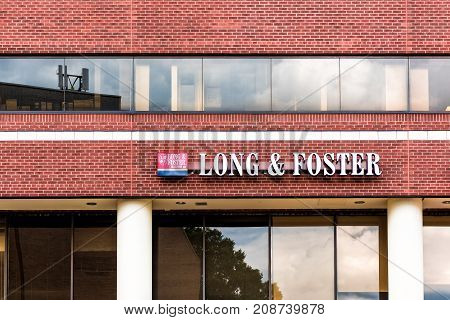 Silver Spring, Usa - September 16, 2017: Closeup Of Long And Foster Realtors Real Estate Sign On Bri
