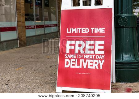 Silver Spring USA - September 16 2017: Mattress firm warehouse store facade and sign for limited time same day free delivery