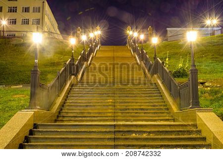 Night view to the staircase with lighing
