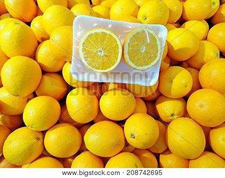 Fresh navel oranges in the package .