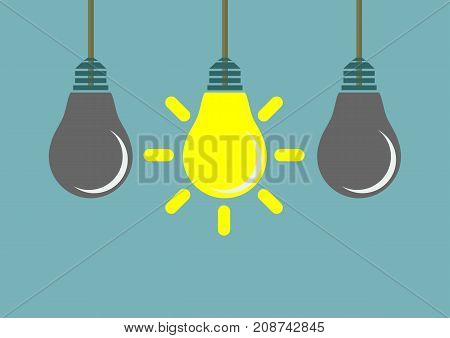 Row of hanging lightbulbs with one burning on blue background. Inspiration, discovery, idea and insight concept. Flat design. Vector illustration.