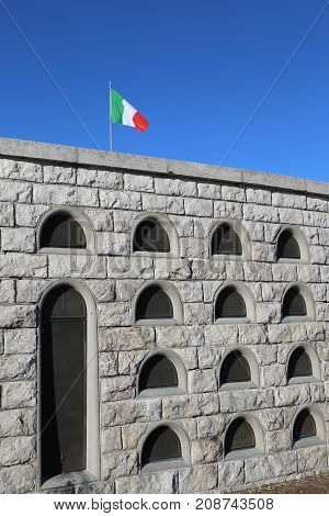 Vicenza, Vi, Italy - December 8, 2015: War Memorial Of First War World Called Ossario Del Monte Grap