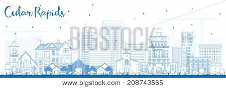 Outline Cedar Rapids Iowa Skyline with Blue Buildings. Business Travel and Tourism Illustration with Historic Architecture.