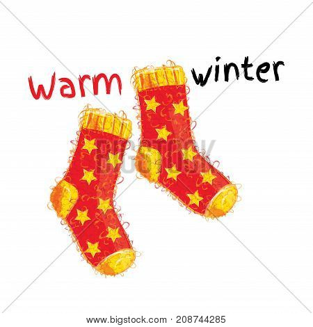 Warm winter woolen red socks with yellow stars. Isolated over white background. Greeting card. Postcard