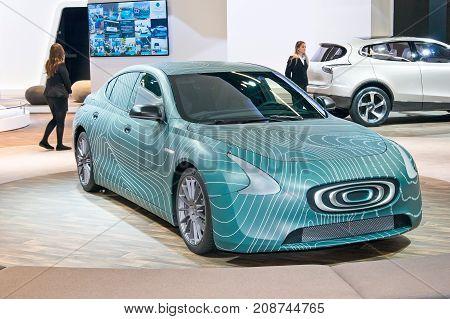 Frankfurt-September 20: Thunder Power EV concept at the Frankfurt International Motor Show on September 20 2017 in Frankfurt