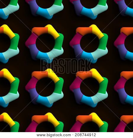3D render of plastic background tile with embossed rainbow donuts ornament