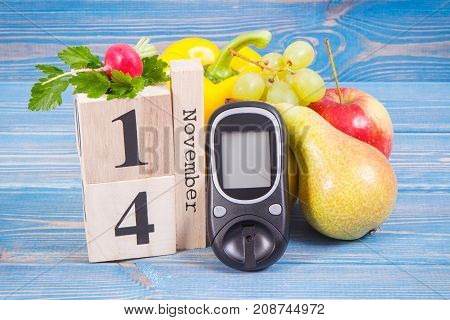 Date Of 14 November, Glucose Meter And Fresh Fruits With Vegetables, World Diabetes Day Concept
