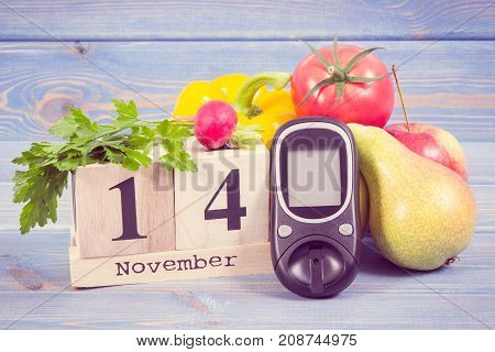 Date Of 14 November, Glucometer And Fruits With Vegetables, World Diabetes Day Concept