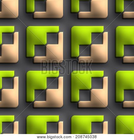 3D render of plastic background tile with embossed  opposite arowheads ornament