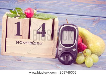 Date Of 14 November, Glucometer And Fresh Fruits With Vegetables, World Diabetes Day Concept